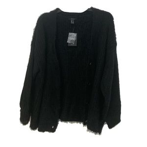 Black Fuzzy Soft Cardigan With Buttons